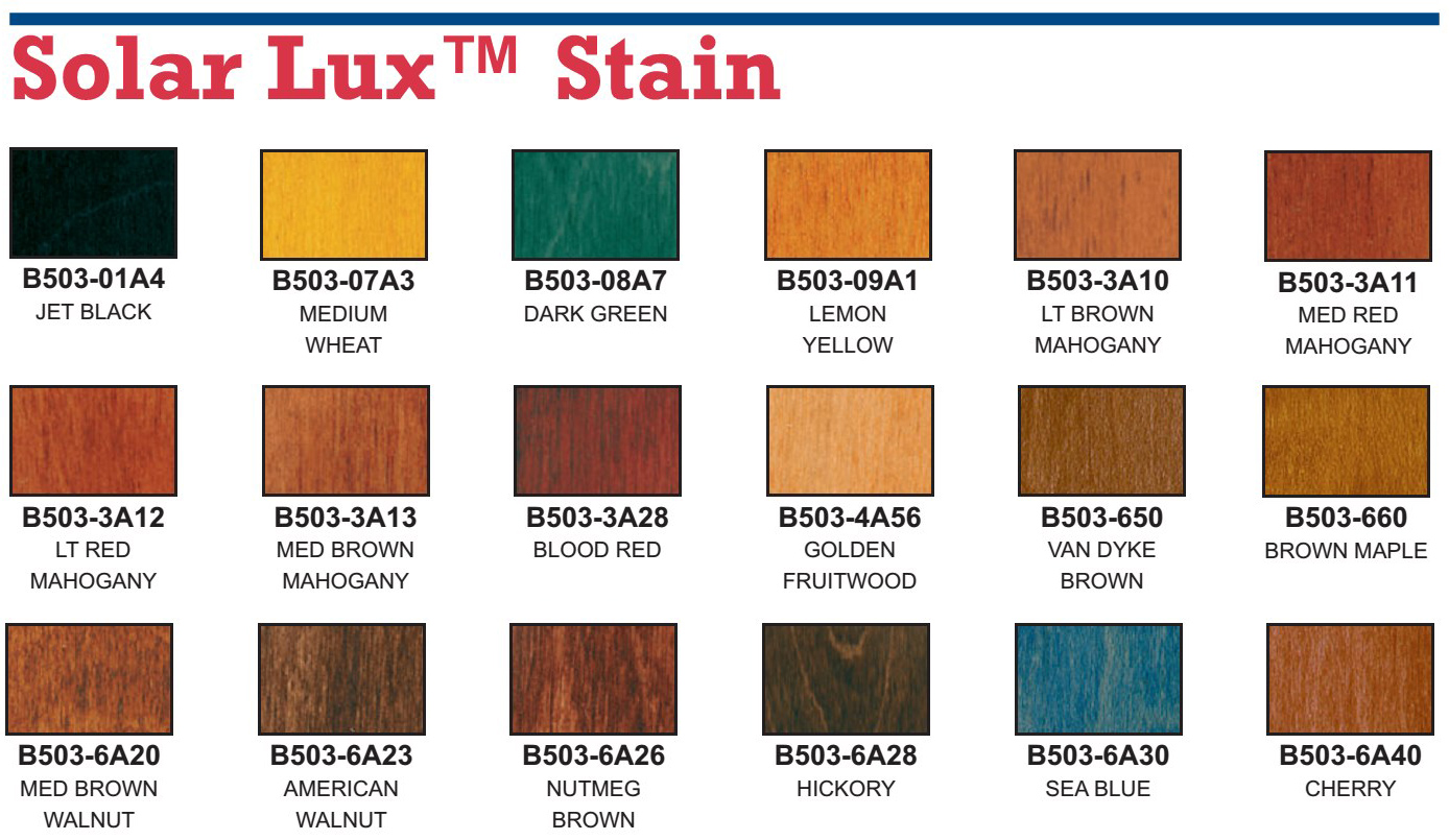 Solar-Lux Stain Color Chart