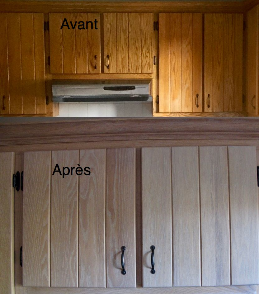 Restauration d 39 armoires de cuisine en ch ne par la boite pin - Peinture d armoire de cuisine ...